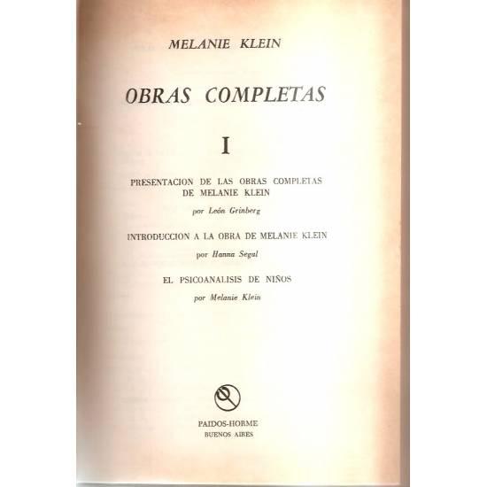 Obras completas Vol. 1 Melanie Klein