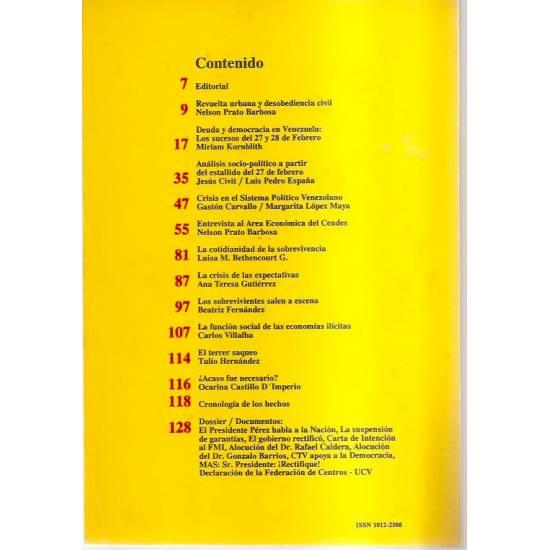 Caracazo Cuadernos del Cendes n. 10 27/28 Febrero 1989