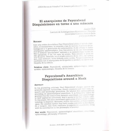 El anarquismo de Feyerabend y otros artículos