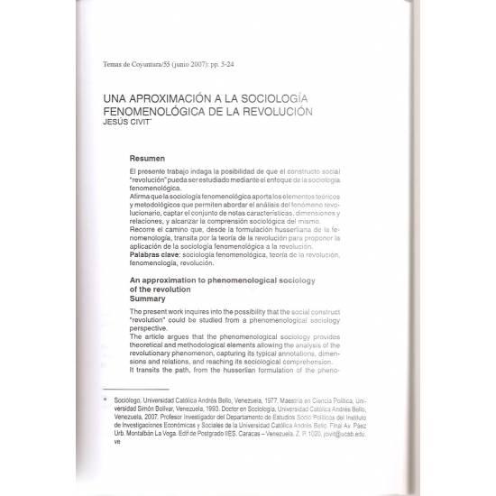 Sociología fenomenológica de la revolución y otros artículos