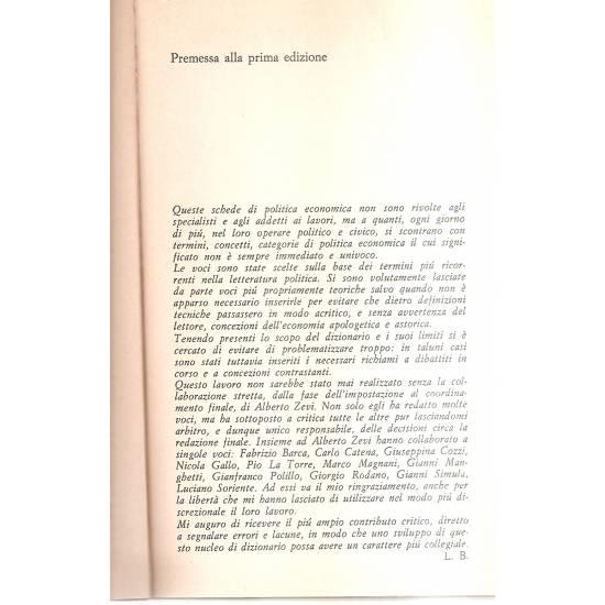 Dizionario di politica economica (en italiano)