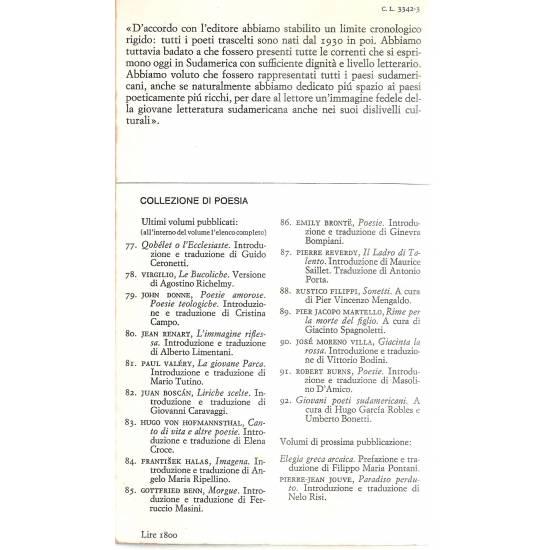 Giovani poeti sudamericani (edición bilingüe español-italiano)
