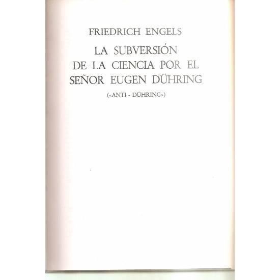 Antiduhring La subversión de la ciencia por el señor Eugen Duhring