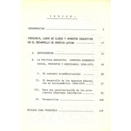 Ideologia, lucha de clases y aparatos educativos en el desarrollo de America Latina