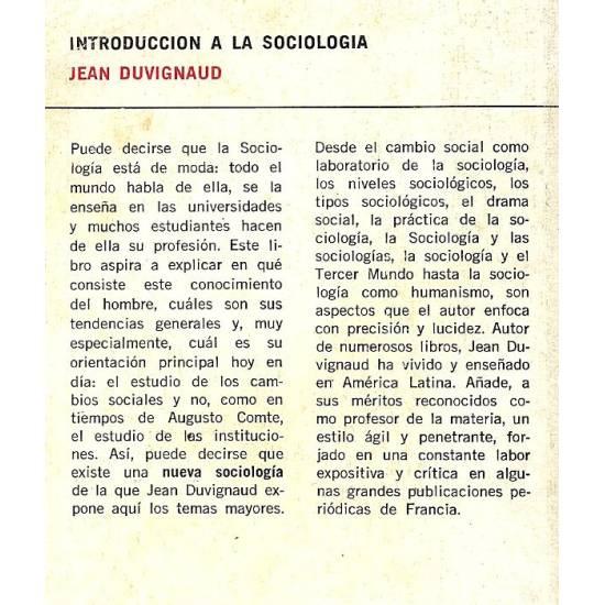 Introduccion a la sociologia. Duvignaud