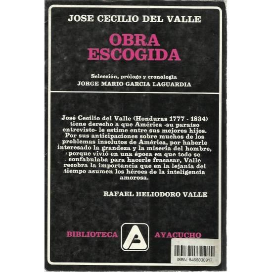 Obra escogida de Jose Cecilio del Valle