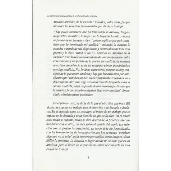 La experiencia psicoanalitica y la operacion del sintoma