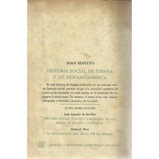 Historia social de Espana y del Hispanoamerica