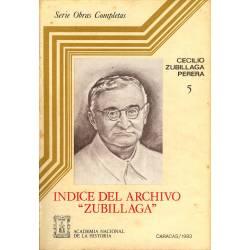 Indice del Archivo Zubillaga n 5