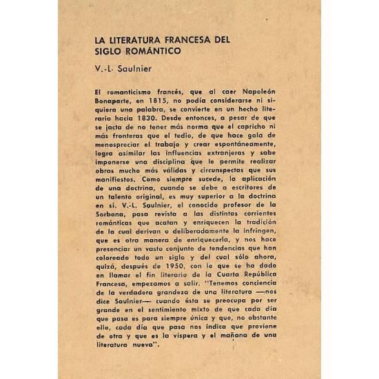 La literatura francesa del siglo romantico