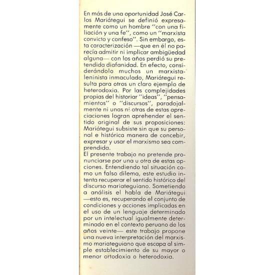 Historia de un lenguaje infortunado. Mariategui y el marxismo.